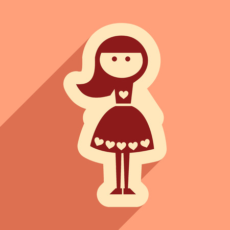 post teen: Flat web icon with long shadow girl Illustration
