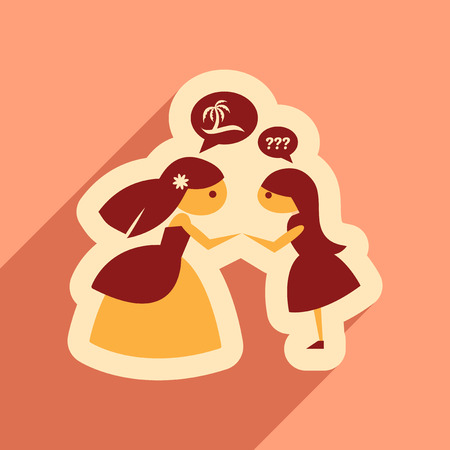 bridesmaid: Flat web icon with long shadow Bride and friend Illustration