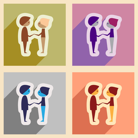 male friends: Set of flat web icons with long shadow male friends