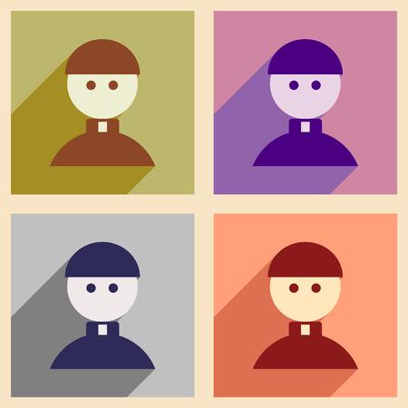 sotana: Conjunto de iconos de la web planas con larga sombra Sacerdote