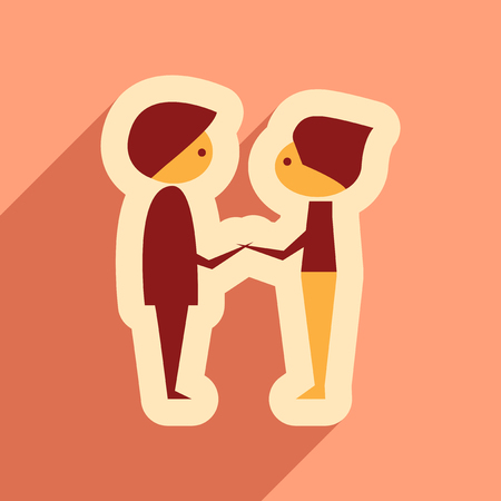male friends: Flat web icon with long shadow male friends Illustration