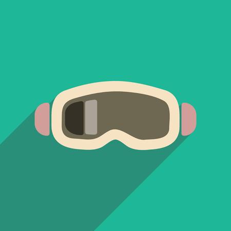 ski goggles: Flat web icon with long shadow ski goggles Illustration