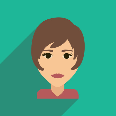 haircut: Flat web icon with long shadow womens haircut