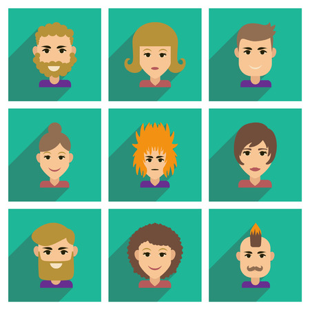 avatar: Set of flat web icons with long shadow haircut Illustration