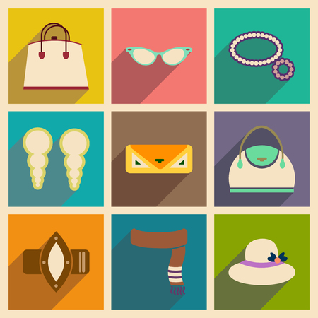 fashion collection: Modern flat icons vector collection with shadow fashion