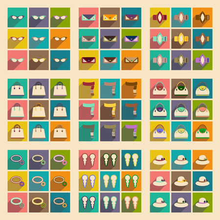 woman scarf: Modern flat icons vector collection with shadow fashion