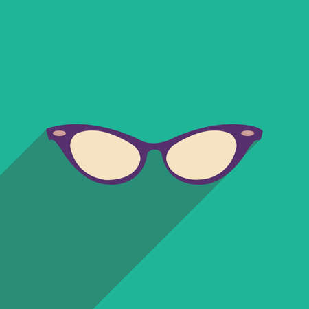 eye glasses: Flat icon with long shadow glasses accessory