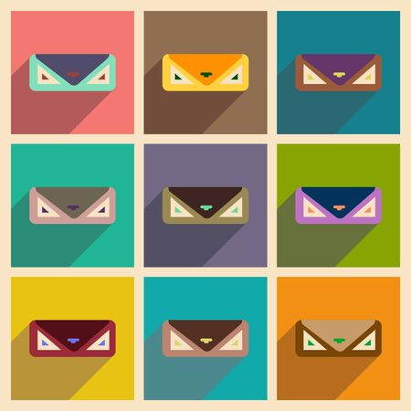 clutch: Modern flat icons vector collection with shadow clutch bag