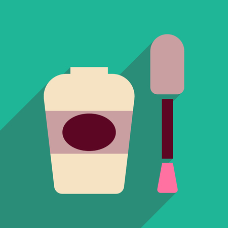 nailpolish: Flat icon with long shadow women nail polish Illustration