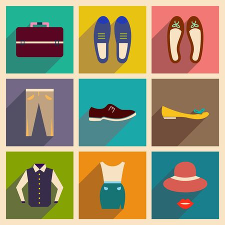 suit skirt: Modern flat icons vector collection with shadow fashion