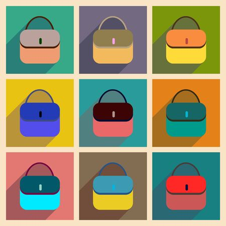 clutch bag: Concept of flat icons with long shadow clutch bag