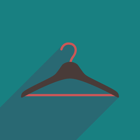 clothes hanger: Flat icon with long shadow  Clothes hanger Illustration