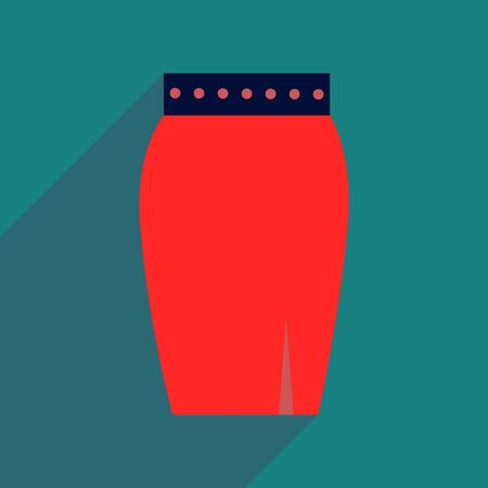 the skirt: Flat icon with long shadow  women skirt