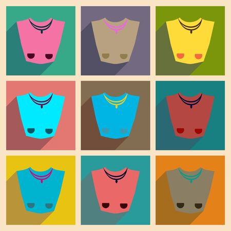 platinum style: Concept of flat icons with long shadow  female necklace Illustration