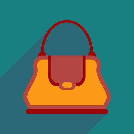 clutch bag: Flat icon with long shadow  clutch bag