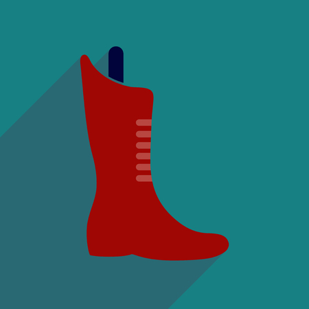 lacing: Flat icon with long shadow  boots lacing Illustration