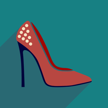 high heels: Flat icon with long shadow  stiletto heels Illustration