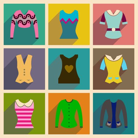 t shirt blouse: Concept of flat icons with long shadow  ladies blouses