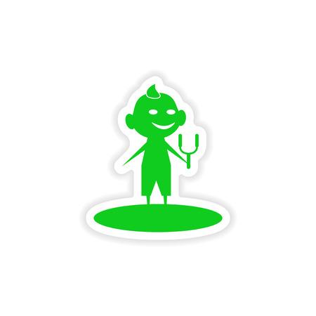 slingshot: icon sticker realistic design on paper boy slingshot