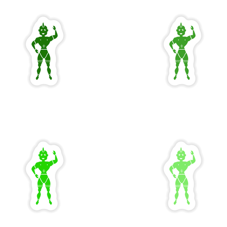 trini: concept stylish paper sticker on white background carnival man