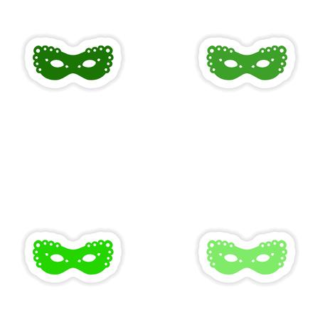 paper mask: concept stylish paper sticker on white background carnival mask