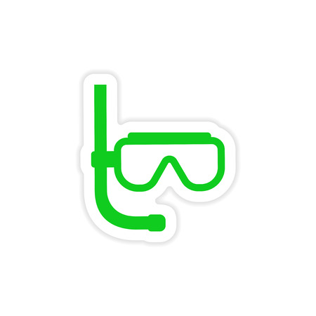paper mask: icon sticker realistic design on paper scuba diving mask