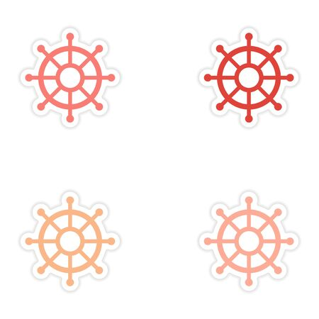 ship wheel: assembly realistic sticker design on paper ship wheel Illustration