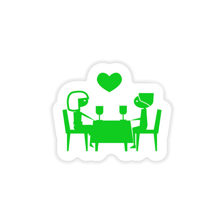 dinner date: icon sticker realistic design on paper  romantic date