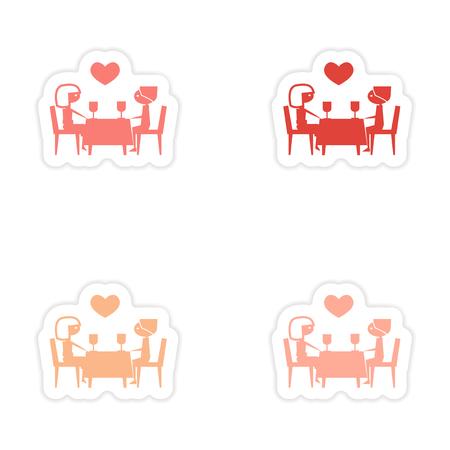 romantic date: assembly realistic sticker design on paper romantic date Illustration