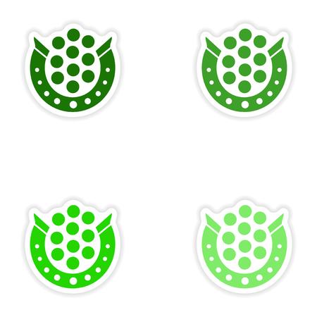 magnetization: concept stylish paper sticker on white background horseshoe coins Illustration