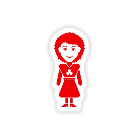 irish woman: stylish paper sticker on white background Irish woman