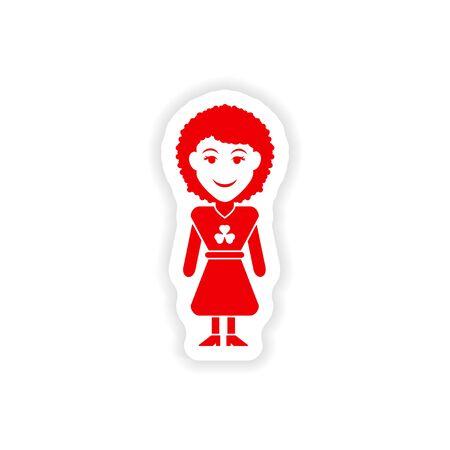 mini skirt: stylish paper sticker on white background Irish woman