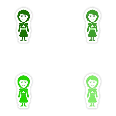 irish woman: concept stylish paper sticker on white background  Irish woman Illustration