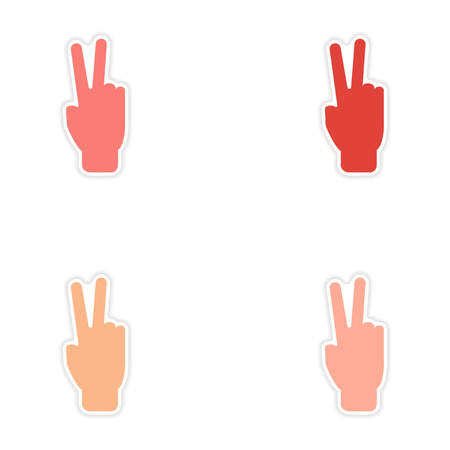 10 fingers: assembly realistic sticker design on paper peace hand
