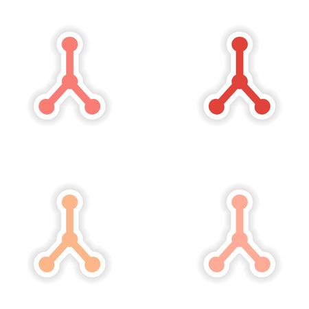 bond: assembly realistic sticker design on paper molecular bond