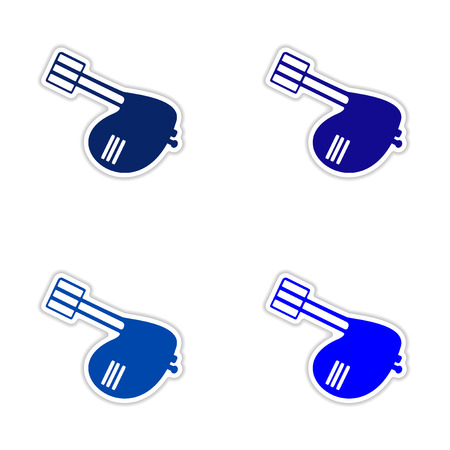 mixers: assembly realistic sticker design on paper mixers