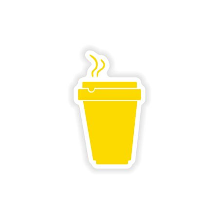 cofee: icon sticker realistic design on paper cofee cup