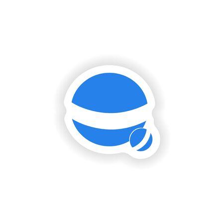 paper ball: icon sticker realistic design on paper ball dog Illustration