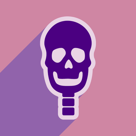 clavicle: flat icon with long shadow human skull