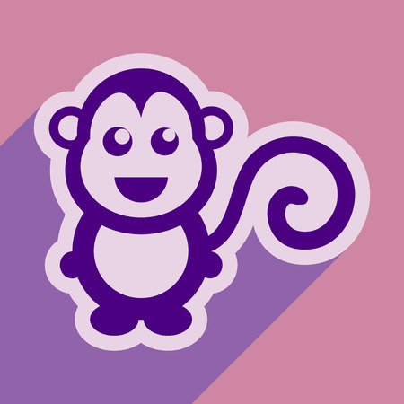 chinese astrology: flat icon with long shadow happy monkey