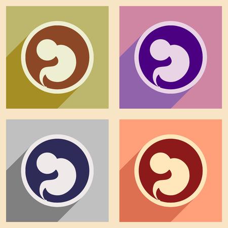 Stel vlakke pictogrammen met lange schaduw kind in de baarmoeder