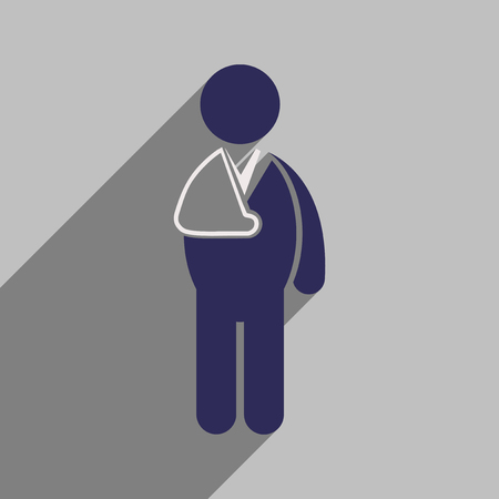 broken arm: Modern flat icon with long shadow patient with broken arm