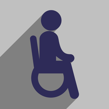 physical impairment: Modern flat icon with long shadow People wheelchair