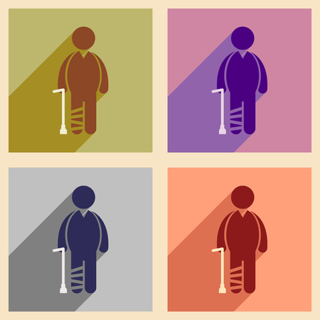 axillary: Modern flat icons collection with long shadow People leg fracture Illustration