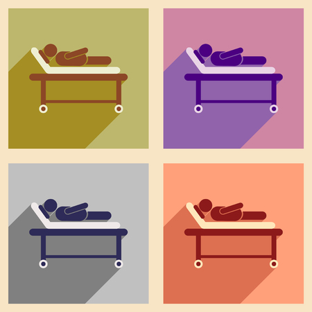 bedridden: Modern flat icons collection with shadow patient in hospital bed Illustration