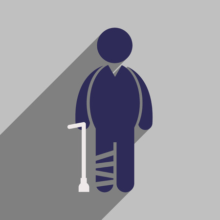 man standing alone: Modern flat icon with long shadow People leg fracture Illustration