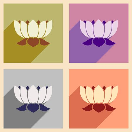 heal new year: Modern flat icons collection with long shadow Indian lotus