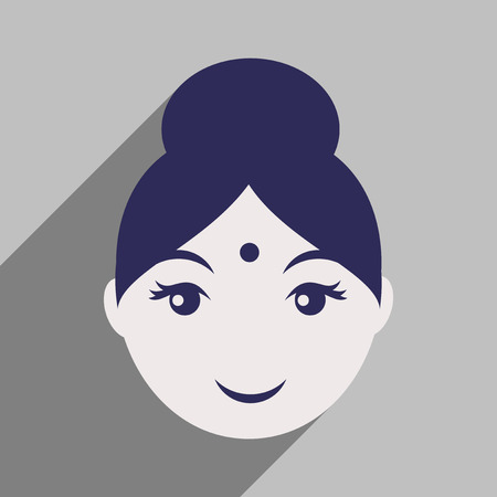 indian traditional: Modern flat icon with long shadow Indian girl