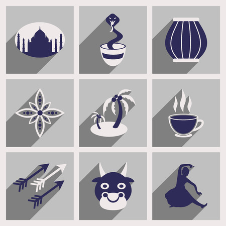 lady cow: Modern flat icons collection with long shadow Indian icons
