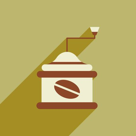 coffee mill: flat icon with long shadow coffee mill